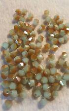 30pcs x 4mm Golden Austrian Crystal Bicone Beads AB finish. * UK SELLER *