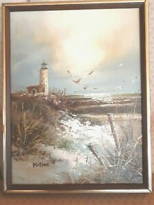 ORIGINAL HUTSON OIL ON CANVAS SEASCAPE PAINTING FRAMED SIGNED BEACH OCEAN