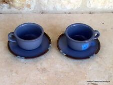 Dansk Mesa Sky Blue Stoneware 2 Cups & Saucers Portugal C1