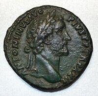 ANCIENT ROMAN BRONZE SESTERTIUS; ANTONINUS PIUS 138-161 AD. SCARCE COIN!
