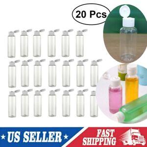 20pcs Plastic Flip Clear Bottles Travel Lotion Liquid Shampoo Makeup Container