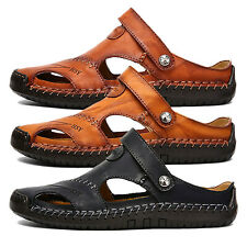 Mens Leather Walking Summer Beach Mules Closed Toe Gladiator Sandals Shoes Size