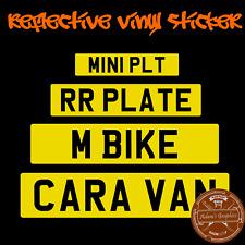 Stick on Number Plate - sticker reflective vinyl trailer caravan yellow