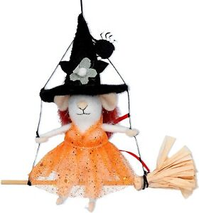 Gisela Graham Wool Witch Mouse Halloween Decoration - Cute Halloween gift