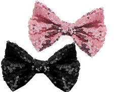 Shimmers - Twin Pack Sequin Hair Clip On In Bow - Pink/Black - 12cm