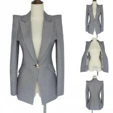 Womens Designer Power Shoulder Suit Jacket OL Business Tuxedo Blazer Coat Slim L