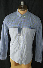AUTH $145 Fred Perry Men Long Sleeve Gingham Shirt XS
