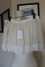 NWT GONNA DONNA LACE DETAIL CREAM MINI SKIRT NEW TAGS $475 42 NEIMAN MARCUS