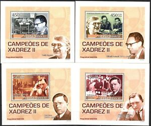 {234} Guinea Bissau 2008 Chess Champions ( II ) 4 S/S Deluxe MNH**