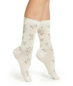 Hue Women Floral Femme Top Socks 2-Pair White One Size 2284