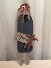 Primitive Rustic Girl GINGERBREAD Doll Wood Christmas Country Holiday HEARTH