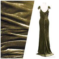 SWATCH - Close-Out Designer Runway Silk Rayon Velvet - Antique Olive Green