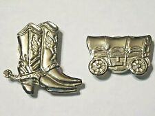 Western Silver Tone Button Covers ~ Boots And Covered Wagon