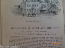 Horseracing Epsom Derby Rare Old Antique Victorian Article 1891 Amato Relics