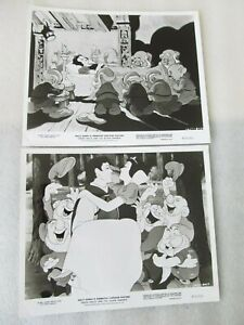 2 Snow white & seven dwarfs 8 x 10 inch Photo stills from 1930's Walt Disney