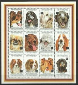 [SVG] ST. VINCENT & GRENADINES 1994 DOGS, DOMESTIC PETS. SHEET OF 12 STAMPS.