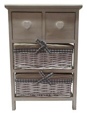 Shabby Chic Maize Basket 3 Tier Bedside Unit Table Storage Bathroom Bedroom