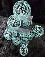 10 ICE BLUE DECORATIVE WIRE MESH BALLS CRAFT PACK FLOWER ARRANGEMENT DECORATION