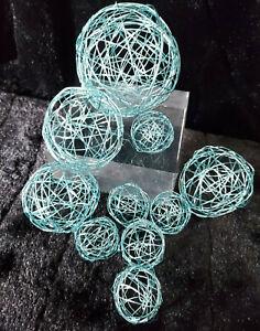 10 ICE BLUE DECORATIVE WIRE MESH BALLS CRAFT PACK FLOWER ARRANGEMENT DECORATION