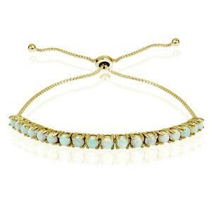 Created White Opal 3mm Adjustable Bracelet in Gold Plated Sterling Silver