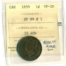 Canada 1859  One Cent Coin , VF-20 , ICCS Certification No- IS 406