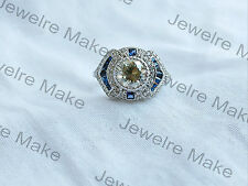 Certified 2.80Ct White & Blue Diamond Vintage Art Deco Engagement 14K Gold Ring