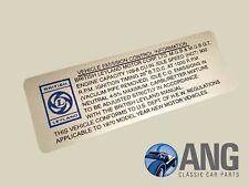 MGB, MGB-GT VEHICLE EMISSION CONTROL INFORMATION DECAL, STICKER LMG2000
