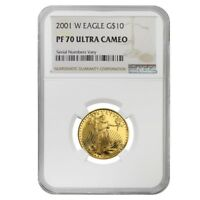 2001 W 1/4 oz $10 Proof Gold American Eagle NGC PF 70 UCAM