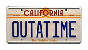 Celebrity Machines Back to the Future | OUTATIME | Metal Stamped License Plate