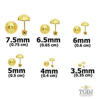 14K Solid Yellow Gold  Diamond Cut Ball Screw Back Stud Earrings Children Girls