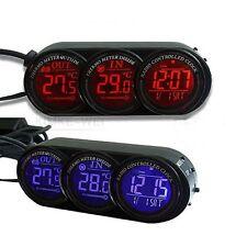 Auto Thermometer Innen/Aussen Digital Uhr Kalender  Blau/Orange Leuchtung Neu