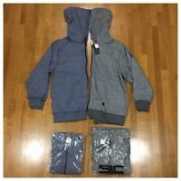New Big & Tall Mens Zip Hoodie Hood Jacket Sweatshirt Outerwear Warm Navy Gray
