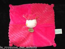 Doudou carré plat Vache rose fushia Les Doubambins Babynat' Baby Nat' BN736