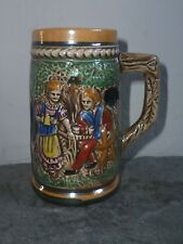 small  / miniture tankard hand painted peasant  / country scene