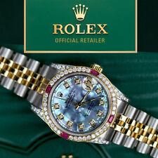 Women's Rolex SS & Gold 36mm Datejust Tahitian MOP Dial Ruby & Diamond Watch