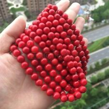 "8MM Coral Red South Sea Shell Pearl Round Gemstone DIY Loose Beads 15"" Strand"