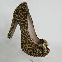 Vince Camuto Jamma Spiked Bow Studs Platform Cheetah Heels Stilettos Size 8 B