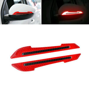 2x Red Reflective Carbon Fiber Side Mirror Warning Molding Trim Car Accessories