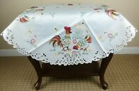"""Easter Embroidery Embroidered Cutwork 33"""" Tablecloth Chicken Rooster Egg Round"""