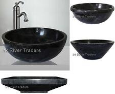 Marble Stone Sink Bathroom Countertop Vessel Basin Wash Bowl Black Nero Marquina