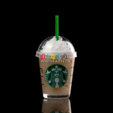 Dollhouse Miniatures Glass of Starbucks Cappuccino Cream Frappe Coffee Drinks
