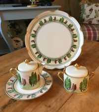 ARTS & CRAFTS Handpainted Serving Set Platter, Plate, Creamer & Sugar Set Lids