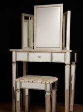 Art Deco Mirrored Dressing Table Stool Set Bedroom Furniture
