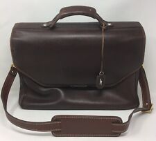 Hartmann Triple Gusset Leather Flapover Briefcase Dark Brown with Strap