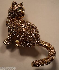 Signed Swan Swarovski Gold Plated Cat Pave with Gold Crystal Brooch Pin