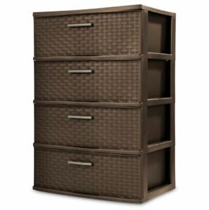 4 Drawer Wide Weave Tower Durable Plastic Indoor Home Storage Organizer Espresso