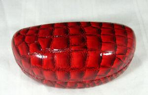 Red Snakeskin Embossed Clamshell Sunglass Eye Glass Case