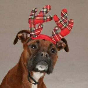 Christmas Holiday Tartan Plaid Antlers for DOGS Size S