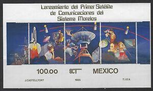 MEXICO - LAUNCHING OF FIRST MORELOS SATELLITE SOUVENIR SHEET(1985) MNH
