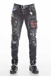 Mens CIPO & BAXX Black Distressed Stretch Skull Rockstar Moto Slim Jeans CD408